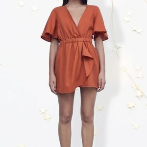 Linen blend short Jumpsuit Romper